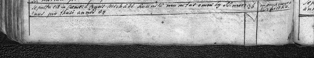 akt zgonu Michała Rasińskiego z 1799 roku