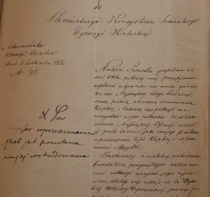 Dokument dotyczacy kaplicy w Otoli z 1883 roku