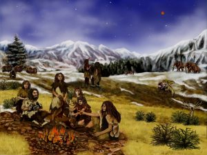 obozowisko ludzi z epoki kamienia