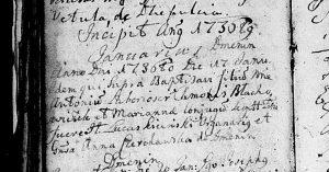 Akt urodzenia Antoniego Blachowiczka z 1736 roku