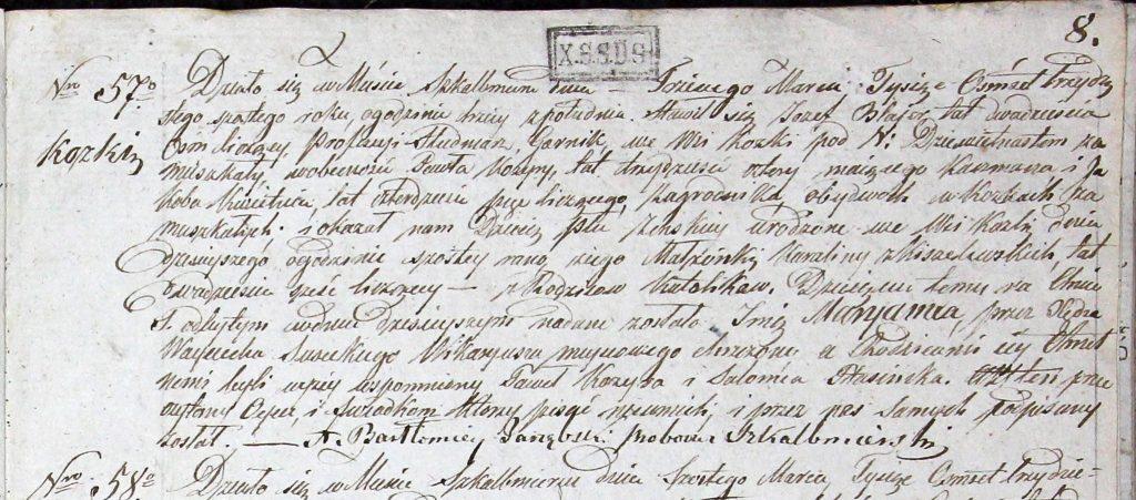 Akt urodzenia z parafii Skalbmierz z 1835 roku