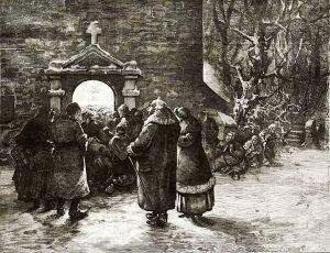 """""""Przed Pasterką""""- drzeworyt Apoloniusza Kędzierskiego z 1882 roku"""