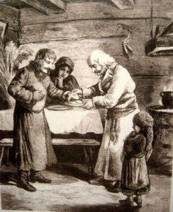 Wigilia w wiejskiej chacie - rysunek z 1878 roku